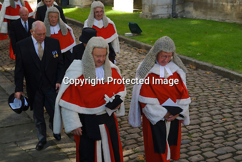 Annually in October the start of the Legal Year is marked by a procession know as the Judges Walk. From Westminster Abbey to the  Houses of Parliament, London England 2006.