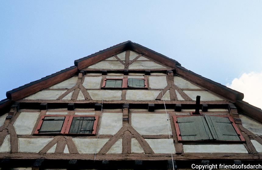 Bad Wimpfen: Fachwerk, upper facade. Shuttered windows. Photo '87.