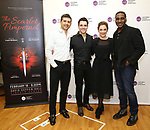 """Tony Yazbeck, Corey Cott, Laura Osnes and Norm Lewis attend the Meet the Cast of The MCP Production of """"The Scarlet Pimpernel"""" at Pearl Rehearsal studio Theatre on February 14, 2019 in New York City."""