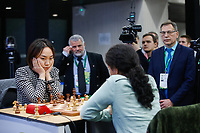 29th December 2019, Moscow, Russia;  Lei Tingjie L of China competes with Koneru Humpyof India in a tie-break of the 2019 King Salman World Chess Rapid Women Championship in Moscow, Russia