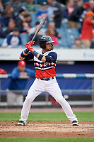 Syracuse Chiefs second baseman Bengie Gonzalez (3) at bat during a game against the Scranton/Wilkes-Barre RailRiders on June 14, 2018 at NBT Bank Stadium in Syracuse, New York.  Scranton/Wilkes-Barre defeated Syracuse 9-5.  (Mike Janes/Four Seam Images)