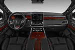 Stock photo of straight dashboard view of a 2019 Lincoln Navigator Select L Extended 4x2 5 Door SUV