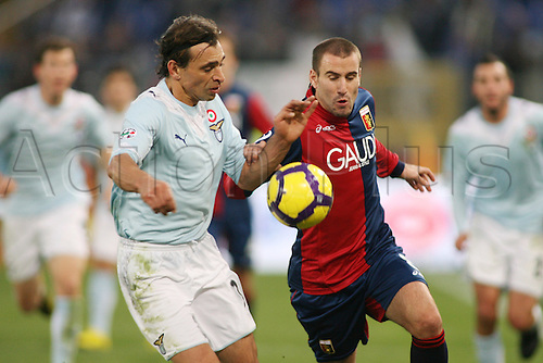 13th December 2009: Sebastiao Siviglia Lazio and Rodrigo Palacio Genoa in game action during the match for the Italian Serie A Soccer Lazio V.Genoa at the Olympic Satadium,Rome.Photo by Leonardo Cavallo/ActionPlus - Worldwide Editorial
