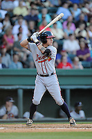 Third baseman Jordan Edgerton (13) of the Rome Braves bats in a game against the Greenville Drive on Friday, June 12, 2015, at Fluor Field at the West End in Greenville, South Carolina. Greenville won, 10-8. (Tom Priddy/Four Seam Images)