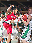 Louisiana Lafayette Ragin Cajuns forward J.J. Thomas (5) in action during the game between the Louisiana Lafayette Ragin Cajuns and the University of North Texas Mean Green at the North Texas Coliseum,the Super Pit, in Denton, Texas. Louisiana Lafayette defeats UNT 57 to 53.