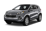 2017 KIA Sportage 2.4-EX-AT-AWD 5 Door SUV Angular Front stock photos of front three quarter view