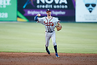Rome Braves shortstop Braden Shewmake (39) makes a throw to first base against the Kannapolis Intimidators at Kannapolis Intimidators Stadium on July 2, 2019 in Kannapolis, North Carolina.  The Intimidators walked-off the Braves 5-4. (Brian Westerholt/Four Seam Images)