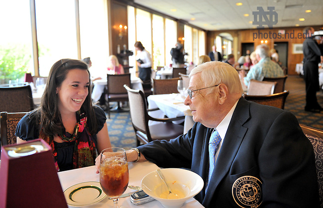 "Jul. 15, 2011; Emil Hofman has a lunch ""date"" at the Morris Inn with ND Magazine intern Tara Hunt...For Notre Dame Magazine..Photo by Matt Cashore/University of Notre Dame"