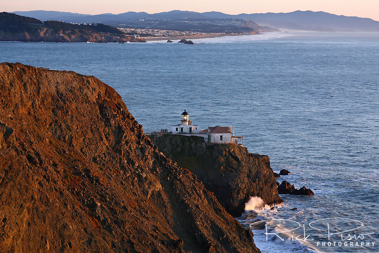 Point Bonita Lighthouse on the Marin Headlands at the entrance to the Golden Gate and San Francisco Bay.