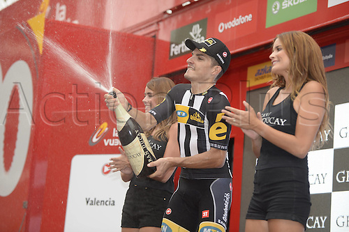 31.08.2015. 2015.  Valencia -to Castellon, Vuelta Espana Cycling tour, stage 10.  Mtn - Qhubeka 2015, Sbaragli Kristian, on the  podium in Castellon
