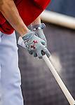 13 October 2016: Washington Nationals outfielder Trea Turner treats his bat outside the batting cage prior to Game 5 of the NLDS against the Los Angeles Dodgers at Nationals Park in Washington, DC. The Dodgers edged out the Nationals 4-3, to take Game 5 of the Series, 3 games to 2, and move on to the National League Championship Series against the Chicago Cubs. Mandatory Credit: Ed Wolfstein Photo *** RAW (NEF) Image File Available ***
