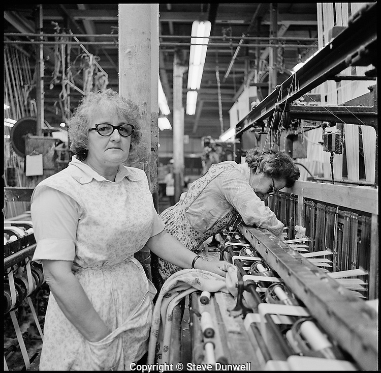 weavers at narrow fabric loom, Arbeka Webbing, Pawtucket, RI