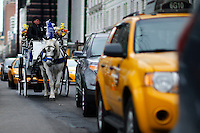 A horse-drawn cab rides throw 59 street next to Central Park, in New York, 01/20/2016 NYC Mayor Bill de Blasio plans to reduce the number of carriages and restrict them to ride in Central Park. Photo by VIEWpress