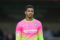 Goalkeeper Jamal Blackman of Wycombe Wanderers during the Sky Bet League 2 match between Wycombe Wanderers and Crawley Town at Adams Park, High Wycombe, England on 25 February 2017. Photo by Andy Rowland / PRiME Media Images.