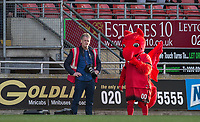 Leyton Orient Photographer Simon O'Connor stands beside the Club Mascot during the Sky Bet League 2 match between Leyton Orient and Wycombe Wanderers at the Matchroom Stadium, London, England on 1 April 2017. Photo by Andy Rowland.