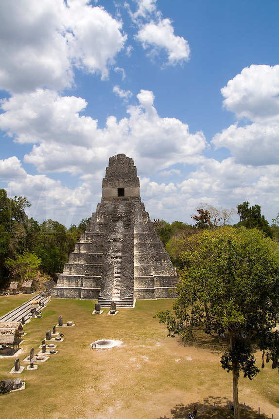 Tower 1 at the famous Mayan Ruins in the Gran Plaza showing the civilization of historical Maya Indians at remote village of Tikal Guatemala taken from atop Temple
