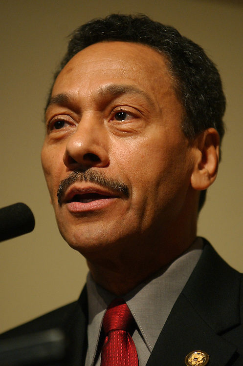 Rep. Mel Watt, D-N.C., new chairman of the Congressional Black Caucus, speaks at a ceremony at the Library of Congress, in which they where sworn into the CBC for the109th Congress,Tuesday.
