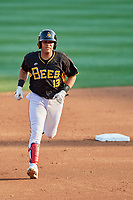 Jose Fernandez (13) of the Salt Lake Bees rounds the bases after hitting a home run during the game against the Nashville Sounds at Smith's Ballpark on July 27, 2018 in Salt Lake City, Utah. The Bees defeated the Sounds 8-6. (Stephen Smith/Four Seam Images)