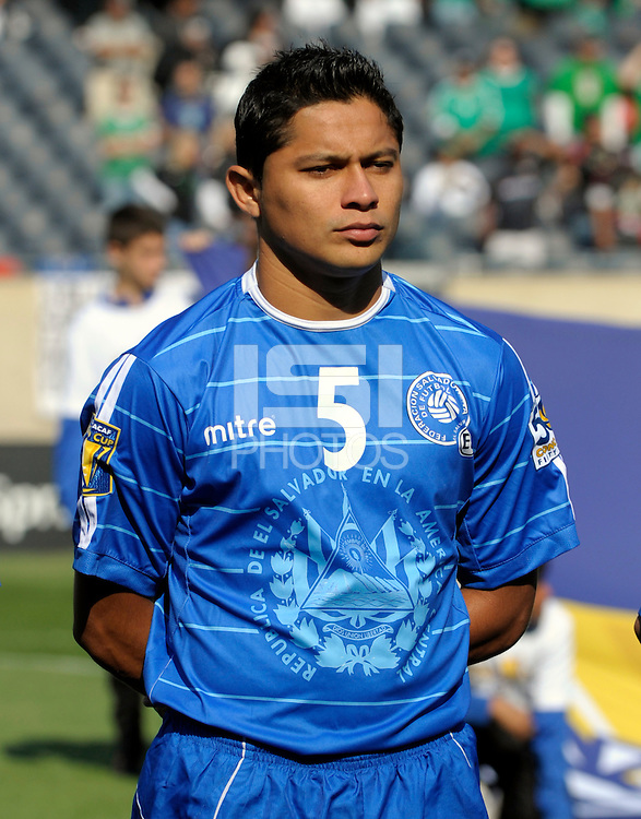 El Salvador's Victor Turcios lines up for the national anthem.  El Salvador defeated Cuba 6-1 at the 2011 CONCACAF Gold Cup at Soldier Field in Chicago, IL on June 12, 2011.