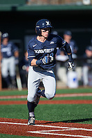 Will LaRue (10) of the Xavier Musketeers hustles down the first base line against the Charlotte 49ers at Hayes Stadium on March 3, 2017 in Charlotte, North Carolina.  The 49ers defeated the Musketeers 2-1.  (Brian Westerholt/Four Seam Images)