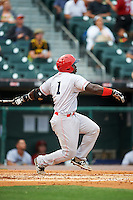 Louisville Bats second baseman Jermaine Curtis (1) hits a home run during a game against the Buffalo Bisons on June 20, 2016 at Coca-Cola Field in Buffalo, New York.  Louisville defeated Buffalo 4-1.  (Mike Janes/Four Seam Images)