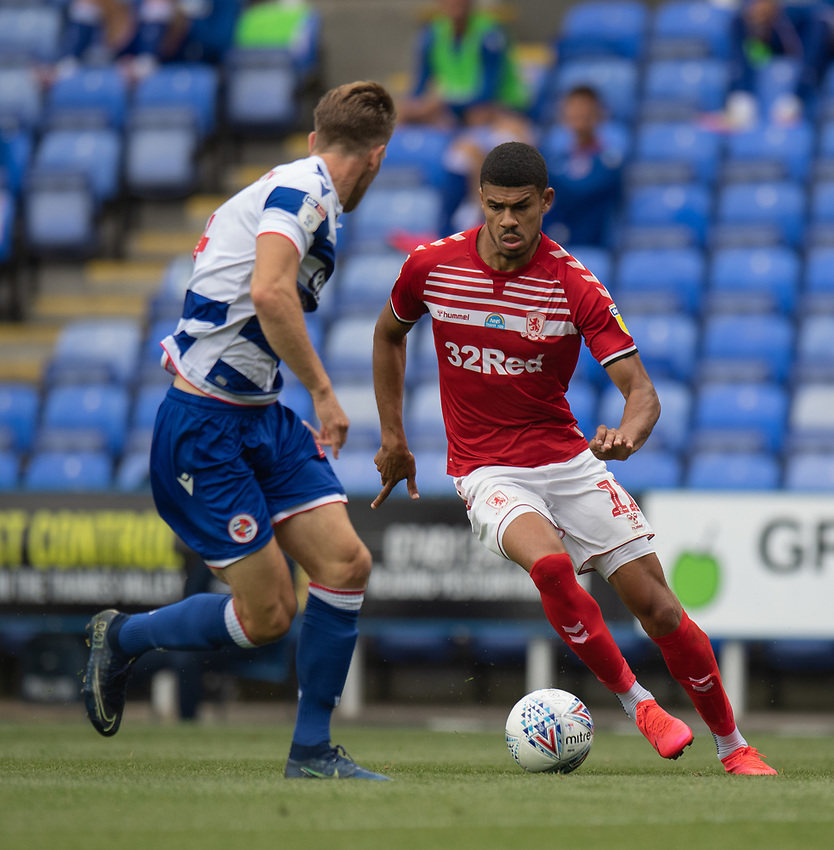 Middlesbrough's Ashley Fletcher (right) under pressure from Reading's Michael Morrison (left) <br /> <br /> Photographer David Horton/CameraSport<br /> <br /> The EFL Sky Bet Championship - Reading v Middlesbrough - Tuesday July 14th 2020 - Madejski Stadium - Reading<br /> <br /> World Copyright © 2020 CameraSport. All rights reserved. 43 Linden Ave. Countesthorpe. Leicester. England. LE8 5PG - Tel: +44 (0) 116 277 4147 - admin@camerasport.com - www.camerasport.com