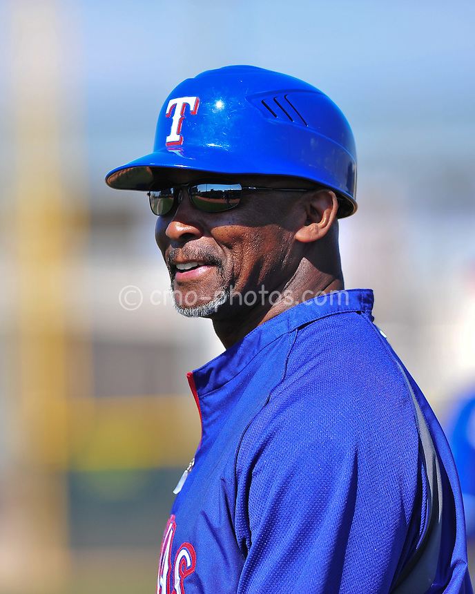 Feb 24, 2011; Surprise, AZ, USA; Texas Rangers first base coach Gary Pettis during an intra-squad game played by the Rangers at the Surprise Recreation Campus.