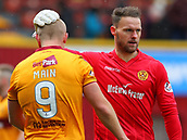 18th March 2018, Fir Park, Motherwell, Scotland; Scottish Premiership football, Motherwell versus Celtic;  Trevor Carson puts a hand on Curtis Main's head after the final whistle