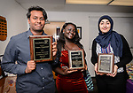 WATERBURY, CT. 07 May 2018-050718BS20 - From left, Crosby High Students Gregory Sewpersaud of Waterbury, Ama Frimpong-Ansah of Waterbury, and Dezheen Selevany of Waterbury stand together after being recognized and receiving awards during the 15th Annual Excellence in Youth Awards at the Waterbury Youth Services on Monday evening. Bill Shettle Republican-American