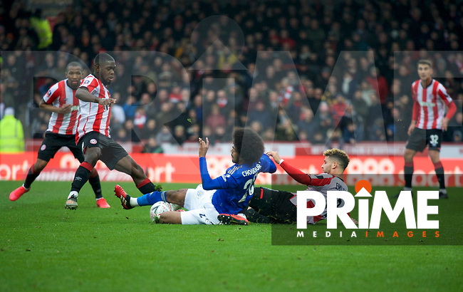 Emiliano Marcondes of Brentford & Hamza Choudhury of Leicester City during the FA Cup 4th round match between Brentford and Leicester City at Griffin Park, London, England on 25 January 2020. Photo by Andy Aleks.