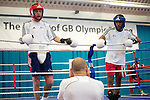 Pix: Shaun Flannery/shaunflanneryphotography.com...COPYRIGHT PICTURE>>SHAUN FLANNERY>01302-570814>>07778315553>>..16th September 2010...........GB Boxing. English Institute of Sport (EIS) Sheffield..Commenwealth Games boxers train at the Sheffield facility..Ian Weaver (red guard) and team mate Khalid Yafai (blue guard) take advice from coach Dave Alloway.