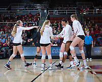 STANFORD, CA - December 1, 2017: Morgan Hentz, Kate Formico, Jenna Gray, Kathryn Plummer, Audriana Fitzmorris, Meghan McClure at Maples Pavilion. The Stanford Cardinal defeated the CSU Bakersfield Roadrunners 3-0 in the first round of the NCAA tournament.