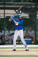 GCL Blue Jays third baseman Emilio Guerrero (79) at bat during a game against the GCL Pirates on July 20, 2017 at Bobby Mattick Training Center at Englebert Complex in Dunedin, Florida.  GCL Pirates defeated the GCL Blue Jays 11-6 in eleven innings.  (Mike Janes/Four Seam Images)