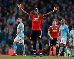 Paul Pogba of Manchester United celebrates the win during the premier league match at the Etihad Stadium, Manchester. Picture date 7th April 2018. Picture credit should read: Simon Bellis/Sportimage