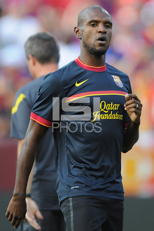 FC Barcelona defender Eric Abidal (22)Manchester United defeated Barcelona FC 2-1 at FedEx Field in Landover, MD Saturday July 30, 2011.