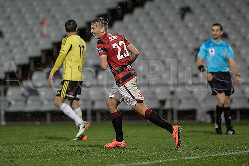 02.08.2016. Campbelltown Stadium, Leumeah, Australia. Westfield FFA Cup Round of 32. Western Sydney Wanderers versus Wellington Phoenix. Wanderers forward Lachlan Scott turns way on celebration as he scores. The Wanderers won 3-2.