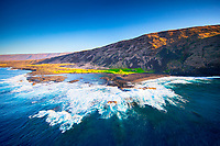 An aerial view of the Hawai'i Volcanoes National Park along the southeastern coast of Hawai'i Island.