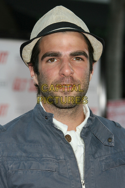 "ZACHARY QUINTO.""Get Smart"" Los Angeles Premiere held at Mann's Village Theatre, Westwood, California, USA..June 16th, 2008.headshot portrait stubble facial hair beard cream hat.CAP/ADM/MJ.©Michael Jade/AdMedia/Capital Pictures."