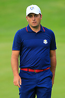 Francesco Molinari (Team Europe) on the 7th green during Friday Fourball at the Ryder Cup, Le Golf National, Iles-de-France, France. 28/09/2018.<br /> Picture Thos Caffrey / Golffile.ie<br /> <br /> All photo usage must carry mandatory copyright credit (© Golffile | Thos Caffrey)