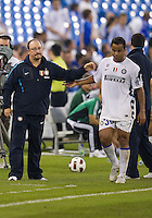 August 03 2010 Inter Milan FC player Amantino Mancini No. 30 is substituted out by Inter Milan FC coach Rafael Benitez during an international friendly between Inter Milan FC and Panathinaikos FC at the Rogers Centre in Toronto..Final score was 3-2 for Panathinaikos FC.