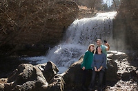 NWA Democrat-Gazette/CHARLIE KAIJO Angie Rose of Bella Vista, Melissa Wagner of Bella Vista and Shane Wagner of Santa Rosa, Fla. (from left), take a selfie in front of a waterfall, Saturday, January 5, 2019 at Tanyard Creek Nature Trail in Bella Vista.