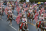 Cowboys & American Flags, Rosebowl New Year's Parade, Pasadena, California