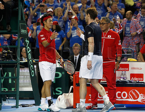 06.03.2016. Barclaycard Arena, Birmingham, England. Davis Cup Tennis World Group First Round. Great Britain versus Japan. Kei Nishikori congratulates Andy Murray after Murray won their five set match to seal the tie 3-1.