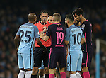 Fernandinho of Manchester City and Sergio Aguero of Manchester City  disagrees with the referee during the Champions League Group C match at the Etihad Stadium, Manchester. Picture date: November 1st, 2016. Pic Simon Bellis/Sportimage