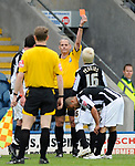 David Perkins of Rochdale receives a red card during the League Two playoff match at The Spotland, Stadium, Rochdale. Picture date 10th May 2008. Picture credit should read: Simon Bellis/Sportimage