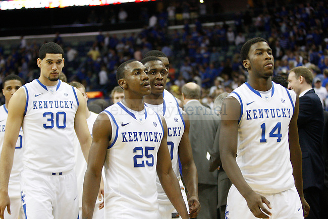UK players after Kentucky's loss to Vanderbilt in the 2012 SEC Tournament championship game, played at New Orleans Arena, on 3/11/12.  Photo by Quianna Lige | Staff