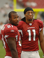Aug 18, 2007; Glendale, AZ, USA; Arizona Cardinals wide receiver Anquan Boldin (81) with wide receiver Larry Fitzgerald (11) against the Houston Texans at University of Phoenix Stadium. Mandatory Credit: Mark J. Rebilas-US PRESSWIRE Copyright © 2007 Mark J. Rebilas
