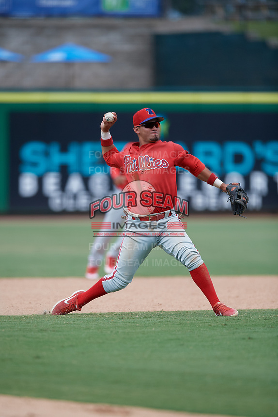 Philadelphia Phillies third baseman Jose Tortolero (33) throws to first base during an Instructional League game against the Toronto Blue Jays on September 23, 2019 at Spectrum Field in Clearwater, Florida.  (Mike Janes/Four Seam Images)