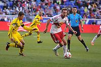 HARRISON, NJ - Saturday, October 19, 2014: The New York Red Bulls lose to the Columbus Crew 3-1 at Red Bull Arena in regular season MLS play.