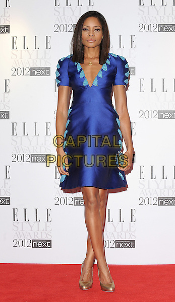 Naomie Harris.'Elle Style Awards 2012' at The savoy Hotel, London, England..13th February 2012.full length dress blue turquoise silk satin gold shoes .CAP/BEL.©Tom Belcher/Capital Pictures.